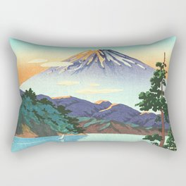 Tsuchiya Koitsu - Lake Ashi in the Hakone Hills in early Autumn - Japanese Vintage Woodblock Rectangular Pillow