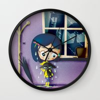 coraline Wall Clocks featuring It's Coraline not Caroline. by Irene Dose