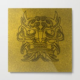 Vicious Tribal Mask Black Golden glimmer 04 Metal Print