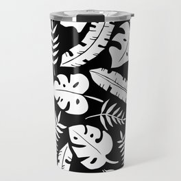 Tropical Leaves - Black & White Travel Mug