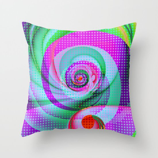 Colourful Swirls and Polka dots Throw Pillow