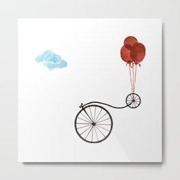 Farthing bike with balloons Metal Print