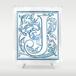 Letter J Elegant Antique Floral Letterpress Monogram Shower Curtain