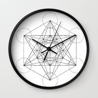 sacred geometry Wall Clocks featuring Sacred Geometry Print 3 by poindexterity