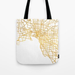 MELBOURNE AUSTRALIA CITY STREET MAP ART Tote Bag