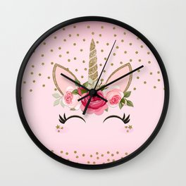 Pink & Gold Cute Floral Unicorn Wall Clock