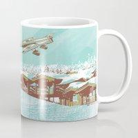 ski Mugs featuring ski lift by michael cheung