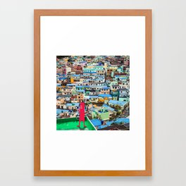 NUM NUM on Colourful house  Framed Art Print