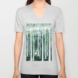 Christmas Stag in the jungle handpainted Unisex V-Neck
