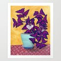 Purple Shamrock Houseplant Painting by sewzinski