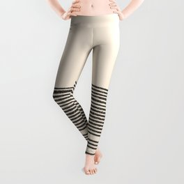 Organic Stripes - Minimalist Textured Line Pattern in Black and Almond Cream Leggings