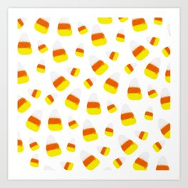 Cute halloween candy corn orange yellow watercolor pattern Art Print