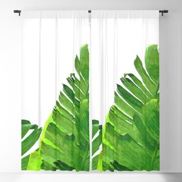 Palm banana leaves tropical watercolor illustration Blackout Curtain