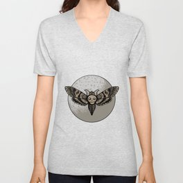 Skull Moth Moon Unisex V-Neck