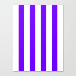 Vertical Stripes - White and Indigo Violet Canvas Print