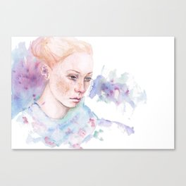Waterolor portrait of a girl Canvas Print