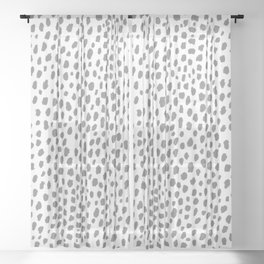 Gray Dalmatian Spots (gray/white) Sheer Curtain