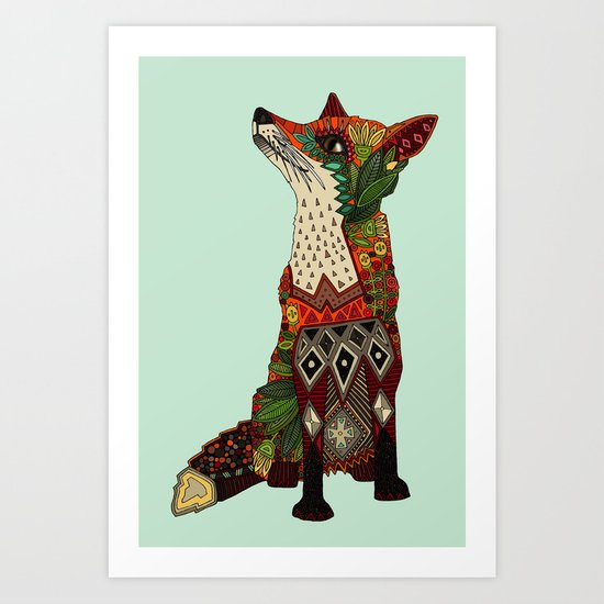fox love mint Art Print