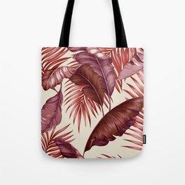 HAWAIIAN GARDEN TROPICAL LEAVES| burgundy ivory Tote Bag