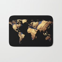 World Map Silhouette - Peanuts Bath Mat