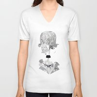 chaplin V-neck T-shirts featuring C. Chaplin by Ina Spasova puzzle