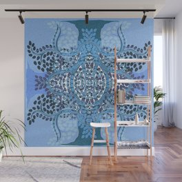 Blue Sacred Tree of Life Mandala Wall Mural