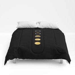Moon Phase Wall Tapestry, Lunar Cycle, Black and Gold, Black and White, Gold Circles, Geometric Comforters