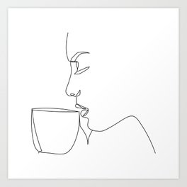 """Profile Collection"" - Woman Drinking Coffee Art Print"