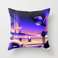 oasis Throw Pillows featuring Oasis by victormgraphics