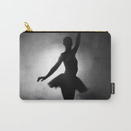 Silhouette of a ballerina with smoke in black and white Carry-All Pouch