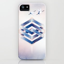 Indigo Hexagon :: Floating Geometry iPhone Case
