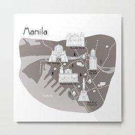 Manila Map - Grey Metal Print