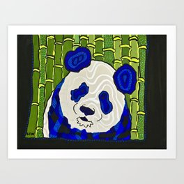 Blue Panda Portrait Art Print