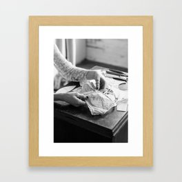 A Seamstress Hands Framed Art Print