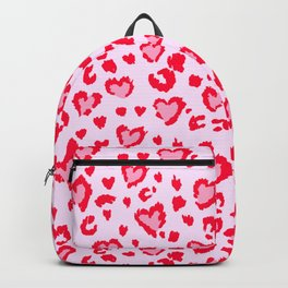 Red & Pink Leopard Heart Print Backpack