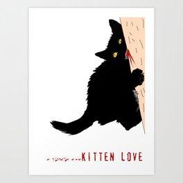 Black little cat love  Art Print