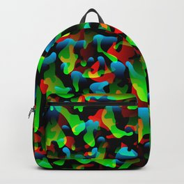 Creative spotted green and colored spots and splashes of paint. Backpack