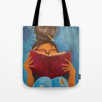 bookworm Tote Bags featuring bookworm by Sugah Acrylics & Designs