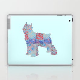 Bouvier Des Flandres Vintage Floral Pattern Blue Red Coral Pink Laptop & iPad Skin