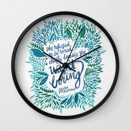 Zelda Fitzgerald – Blue on White Wall Clock