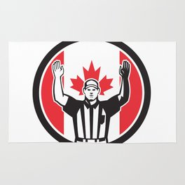 Canadian Football Referee Canada Flag Icon Rug