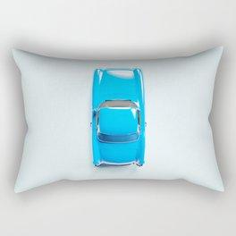 Vintage Blue Car on White Rectangular Pillow