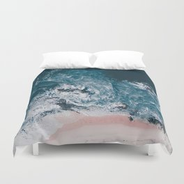 I love the sea - written on the beach Duvet Cover