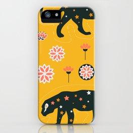 Fantastic jaguars and flowers iPhone Case