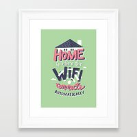 risa rodil Framed Art Prints featuring Home Wifi by Risa Rodil