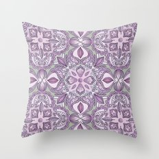Lavender & Grey - Colored Crayon Floral Pattern Throw Pillow