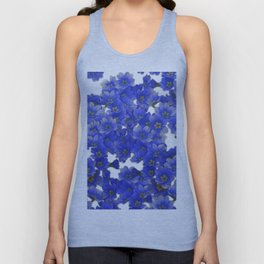 Little Blue Flowers on White Unisex Tank Top