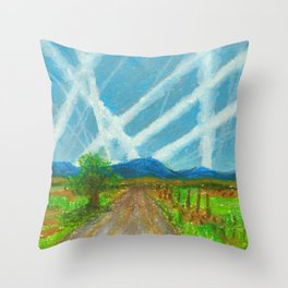 Chemtrails on the Back Road Throw Pillow