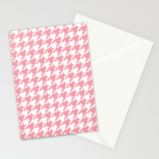 Pink Houndstooth Pattern Stationery Cards