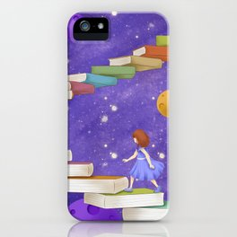 Girl Walking On Books iPhone Case